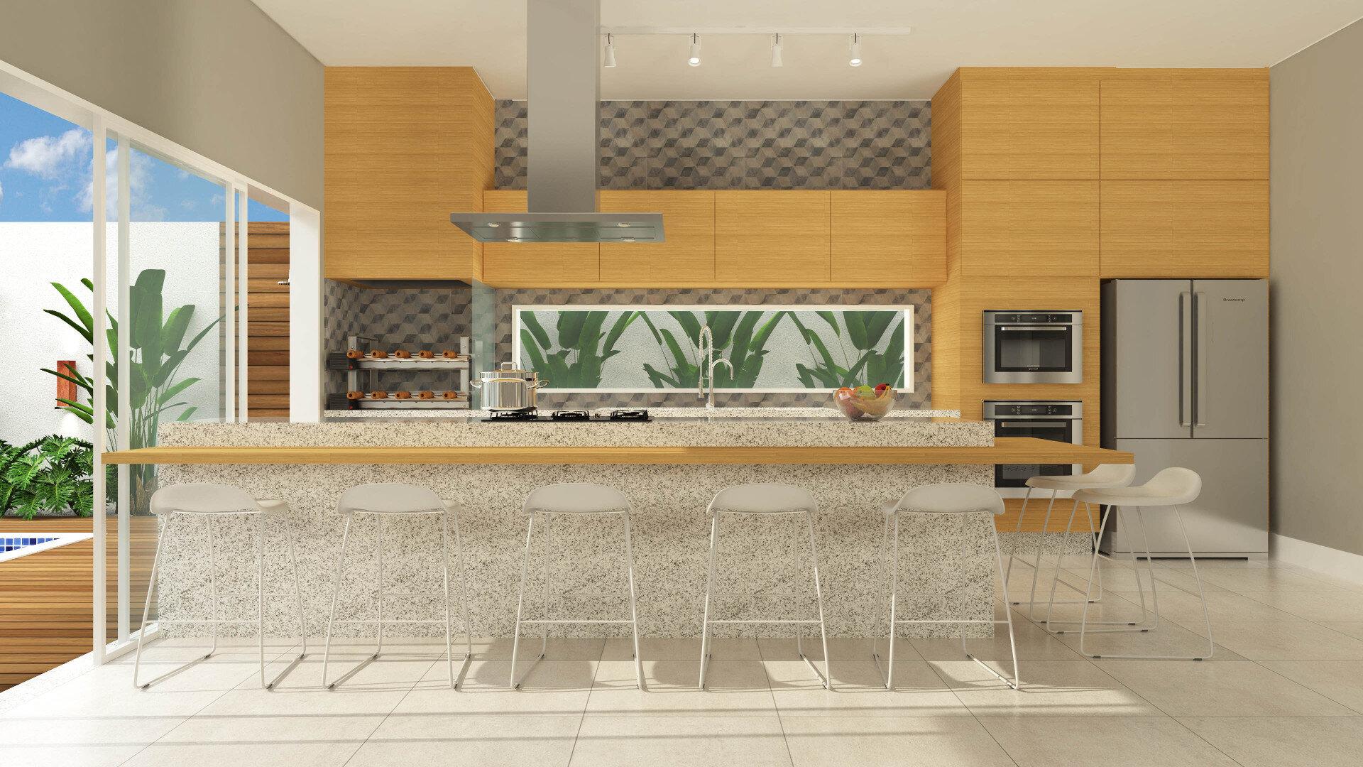 Cozinha Com Sala De Jantar Integrada Ambiente Amplo Com Sala No