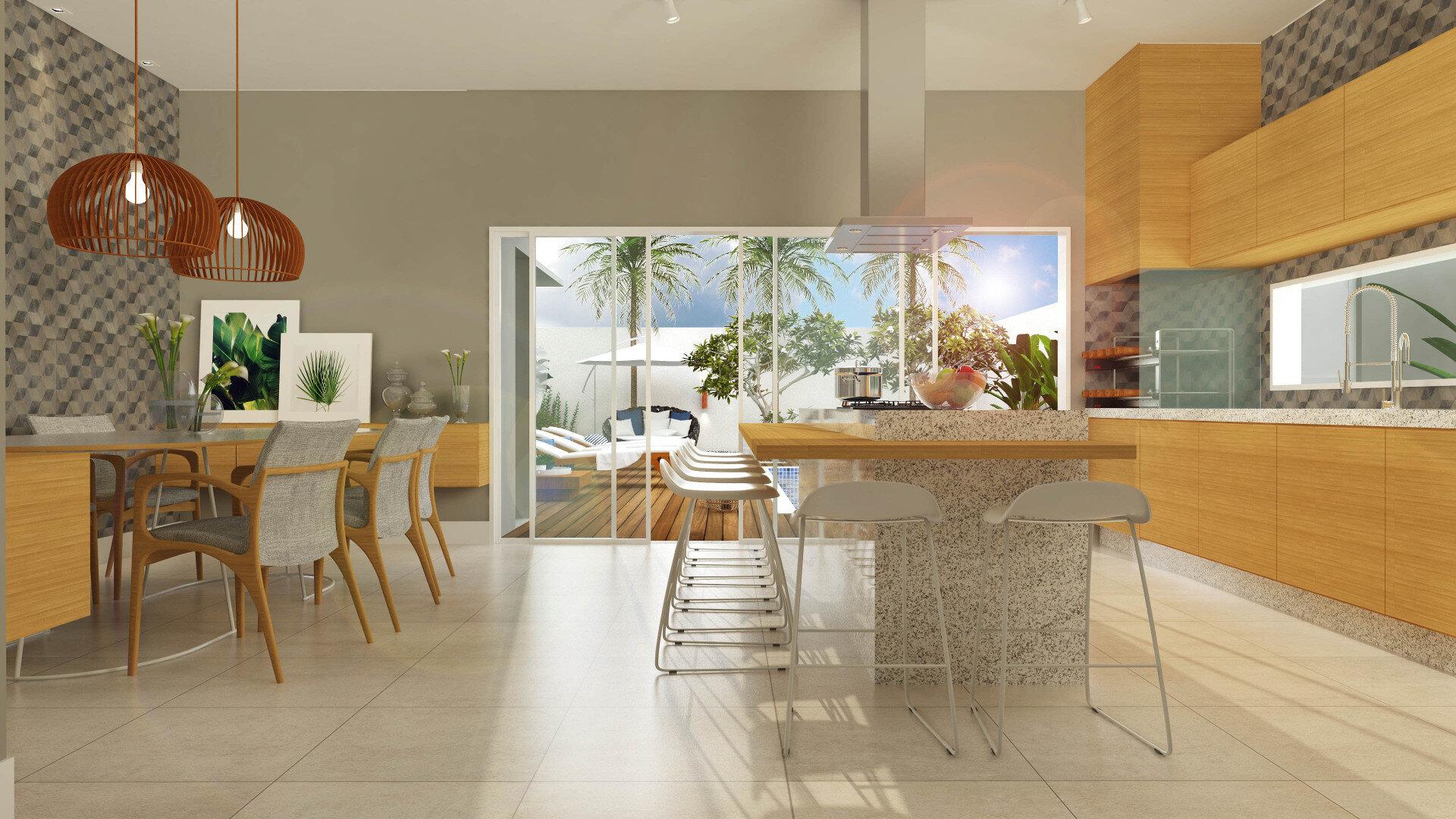 Area Gourmet Integrada Com Cozinha Cozinha Lavanderia Condomnio